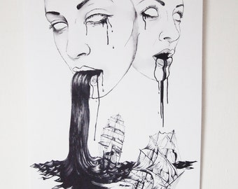 Nautical Illustration - They:Water, Old Ships, black and white drawing, goddess, gods, fantasy
