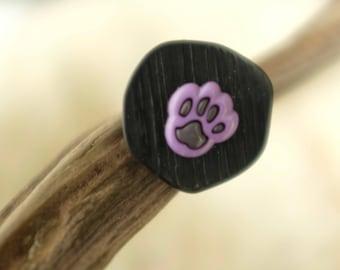 little purple dog paw ring
