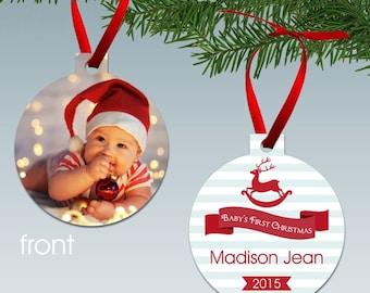 Babys First Christmas Aluminum Photo Ornament