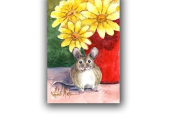 Field Mouse Yellow Daisy Original Nursery Baby Watercolor Original LLMartin New Mom Rabbit Free Shipping USA