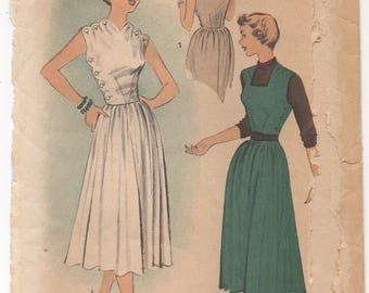 "1950's Advance One Piece Dress with Button Up Bodice and Full Skirt Pattern - Bust 34"" - No. 5550"