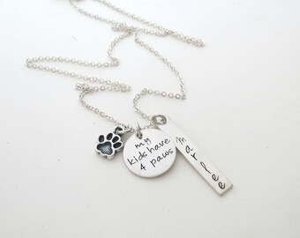 Personalized Paw Necklace - Mom to Dogs - Mom to Cats - My Kids have Four Paws - Personalized Jewelry - Pet Name - Womens - Custom - Silver