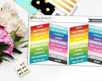 Cancelled Phrases Planner Stickers