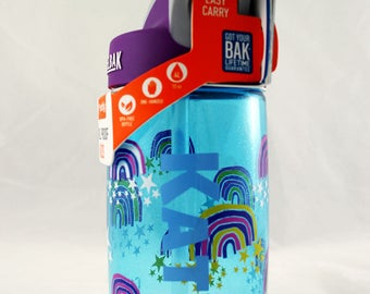 Personalized .4L Kid's Glitter Rainbows CamelBak® Bottle - Water Bottle - Hydrate - Custom - Bottle - Hydrate - Bite Valve - Sparkle Toddler