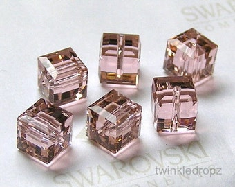 16 pcs VINTAGE ROSE Swarovski Crystal Cube Beads 5601 4mm Wholesale Destash