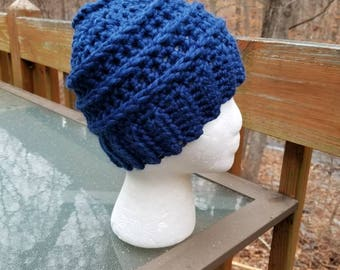 Messy Bun Beanie in Colbalt- Ready to Ship - Ponytail Hat