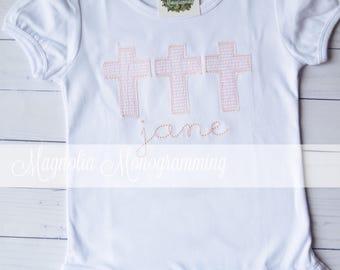 Girls Easter Cross Applique Shirt, Girls Cross Applique Shirt, Girls Church Applique Shirt, VBS Applique Shirt, Easter Shirt, Church Shirt