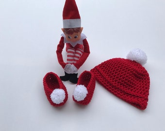 Baby hat and Booties,crochet baby hat, baby sleepers,baby fashion, baby shoes, red beanie,Xmas gifts, red beanie, red sleepers, baby shower