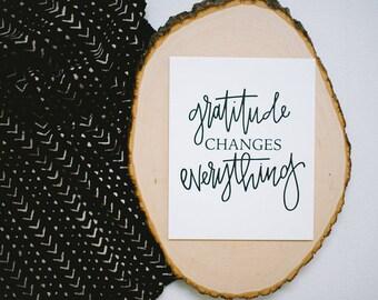 Letterpress Art Print // Gratitude Changes Everything