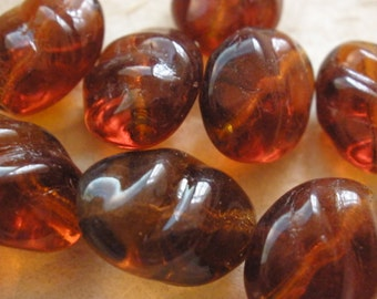 10 Vintage Glass Beads German Rootbeer Pressed Beads 15x13mm