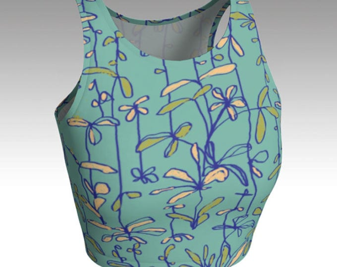 Peach Flower Crop Top, Teal/Green Crop Top, Tops, Women's Tops, Yoga Tops, Swim Top, Athletic Tops, Pair with matching shorts