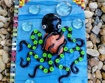 Octopus notebook,cute octopus,hand made note book,clay notebook