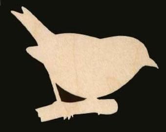 Bird on a Limb Unfinished Craft Wood Cutout 652