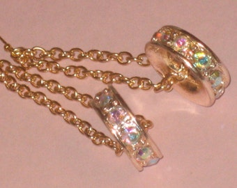 Wheel Style Ab Earrings, Dangle, Chain, Gold Tone