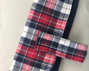 Red & Navy Plaid Winter Coat