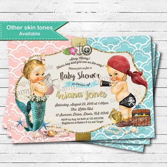Twins Boy Girl Baby Shower Invitation. Vintage Pirate Mermaid