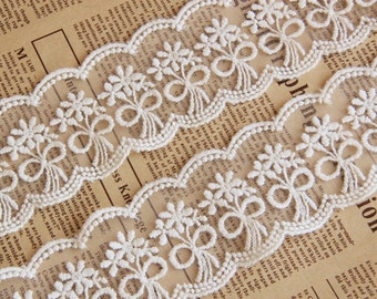 """2 Yards Lace Trim Bowknot Ivory Retro Embroidery Tulle 1.96"""" width"""
