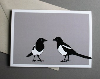 Pica Pica - magpie greetings card