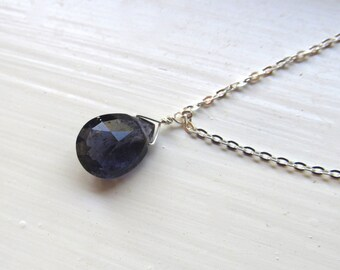 Iolite necklace silver gold simple briolette style