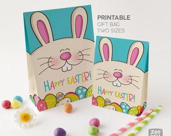 Easter Gift bag, Printable Favour bag, Gift bag, Treat bag, Easter favour bag, Bunny, Bag, printable bag, Instant download