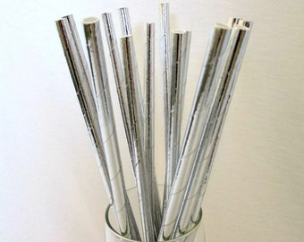 Straws Wedding Tableware Paper Straws Silver Straws Silver Foil Straws Birthday Party Favors Bridal Shower Baby Shower Favors Wedding Favors
