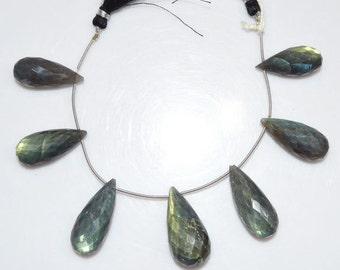 "Natural Labradorite Tear Drop Briolette - Labradorite Faceted Beads , Labradorite Briolette , 12x27 - 15x33 mm , 6"" - BL1436"