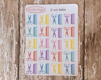 Salon Reminder Stickers, Hair Cut Stickers, Scissors Stickers, Beauty Stickers, C-105.