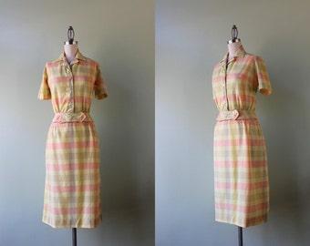 50s Dress Set / Vintage 1950s Plaid Cotton Suit / Soft Cotton Fifties Blouse and Skirt Set