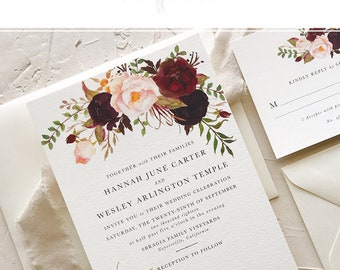 Marsala Wedding Invitation Suite for Bohemian Wedding