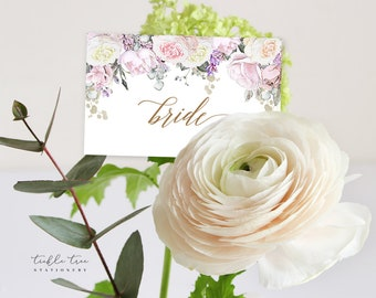 Place Cards - White Rose & Gold (Style 13806)