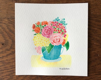 6x6 ORIGINAL watercolor/Spring floral teacup