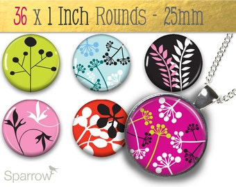 Funky Fresh Forest -(1x1) One Inch (25mm) Round Pendant Images -Magnets,Butons,Bottle Caps -Buy 2 Get 1 Free -Scrapbooking -Instant Download
