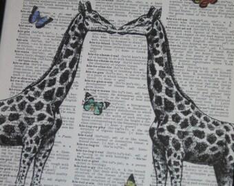 Giraffe Dictionary Art Print Giraffe Couple and Butterflies Print  Dictionary Art Dictionary Print HHP Original Concept and Design