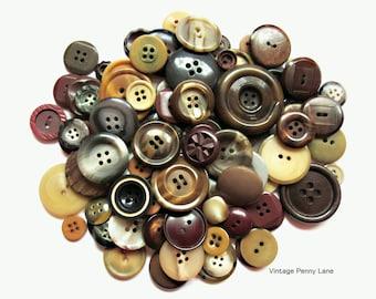 100 Vintage Buttons, Earth Tone Plastic Lot