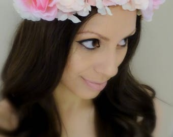 Floral Headpiece, Flower Headband, Pink Flower Crown, Pink Floral Crown, Pink Flower Headband