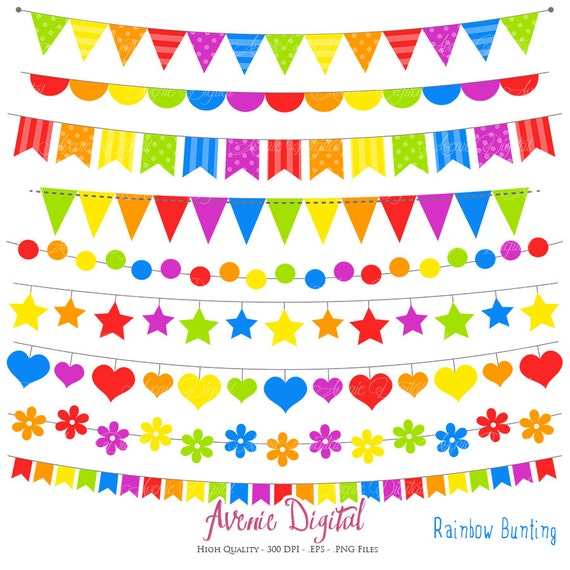 Bunting Banner Clipart. Scrapbook Printable Rainbow Banners