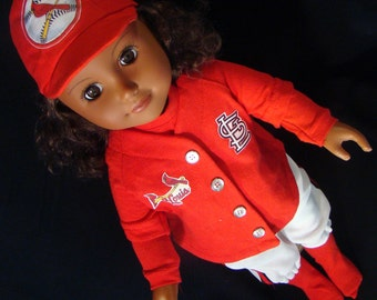 St. Louis Cardinals Baseball Uniforms - American Girl (Boy) Style & Size Doll Clothes, Outfit