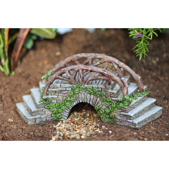 """Curved Enchanted Bridge with Steps adorned with Ivy  2.5"""" Tall x 6.5"""" Wide x 2.25""""D for the Fairy Garden"""