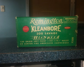 Ammo box  remington kleanbore 300 savage empty box 1950s-1960s