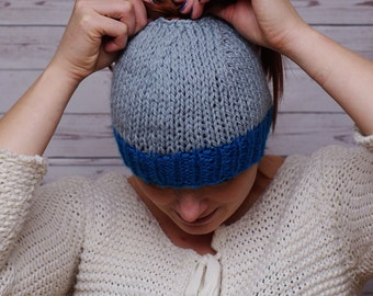 Messy bun hat, messy bun beanie, ponytail beanie, knit wool bun hat, blue hat, ready to ship, popuar hat, popular item