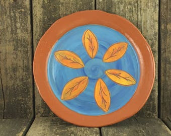 Turquoise and Orange Leaf Dinner Plate