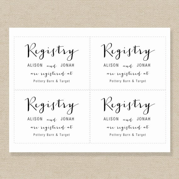 Printable wedding registry cards leoncapers printable wedding registry cards junglespirit Choice Image