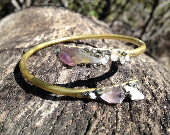 Amethyst, Clear Quartz Crystal , and Pyrite Bangle