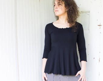 Blossom 3/4 Sleeve Top  - Organic Fabric - Many Colors Available - Organic Cotton Blend - Made to Order - Eco Fashion by Rowan Grey
