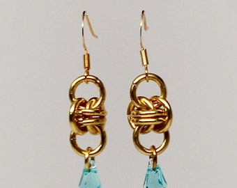 Gold-plated barrel weave chainmaille earrings with genuine Swarovski crystals (light turquoise)