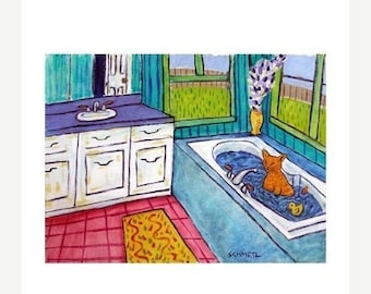 cat art - Orange Tabby Cat Taking a Bath Animal Art Print, cat gifts, gift