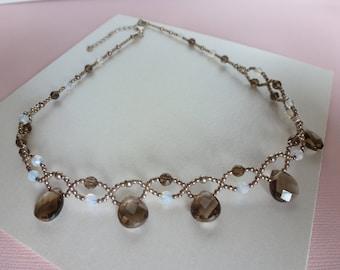 Smoky necklace retro woven, smoky quartz, silver, grey color beads and white opal. Necklace.