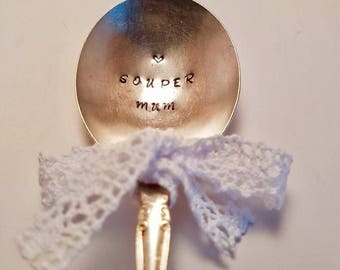 """Vintage silver plate soup spoon  - hand stamped with """"Souper Mum"""" - Perfect for Mum for Mothers Day or Birthday Gift - Super mum"""
