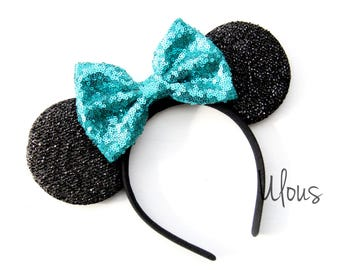 Teal Mickey Ears, Teal Minnie Ears, Sparkly Minnie Ears, Sequin Minnie Ears, Teal Mouse Ears, Bachelorette Mickey Ears, Mouse Ears
