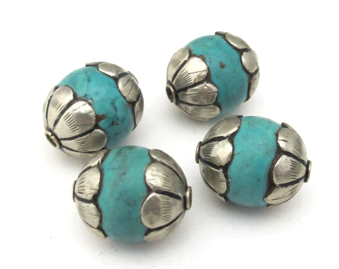 1 Bead- Beautiful thick floral capped turquoise gemstone beads from Nepal  - BD918